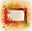 Vector gold frame with colorful Autumn Leafs. Thanksgiving
