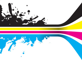 cmyk lines with splashed ink
