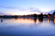 Lake and a marina during the sunset