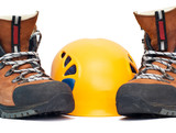 climbing orange helmet and boots