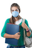 Student girl infected with influenza A poster