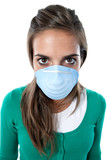 Distorted girl infected with influenza A poster