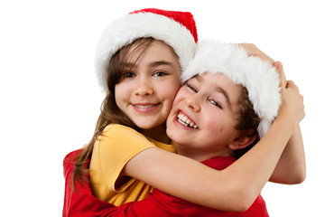 Kids in disguise Santa Claus isolated on white background