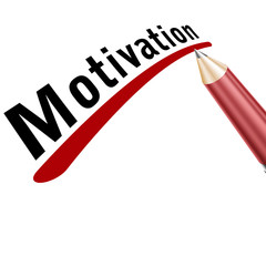 motivation underlined in pencil on a white background