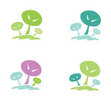 Trees pictogram. In 4 color variants. Vector illustration. poster