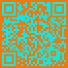 Dwuwymiarowy kod kreskowy pomarańczowy niebieski