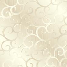 Silver beige shiny spirals texture, pattern; vector illustration