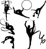 Rhythmic Gymnasts Silhouettes poster