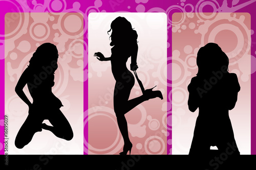 Sexy girls Silhouette on grunge background