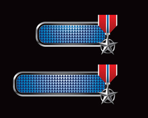 Military medal checkered blue tabs