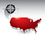 Compass around united states icon poster