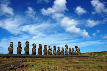 15 Moai at Ahu Tongariki, Easter Island, Chile