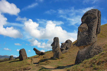 Moai at Rano Raraku, Easter Island, Chile
