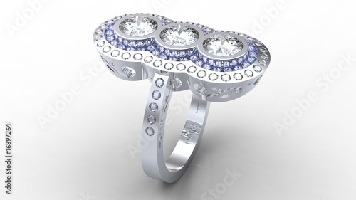 Grigoryan platinum three diamond engagement ring