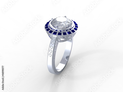 Grigoryan platinum sapphire diamond engagement ring