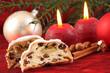 Marzipanstollen und Weihnachtsdeko