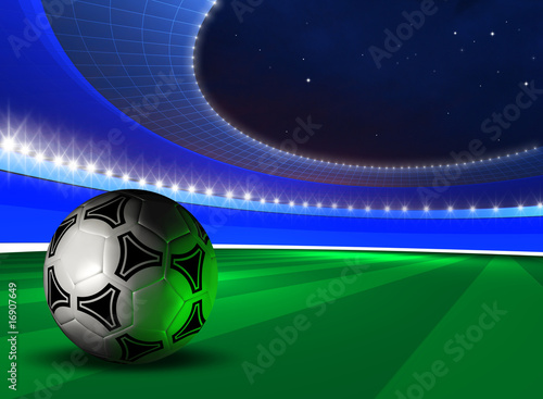 background with soccer ball on futuristic stadium