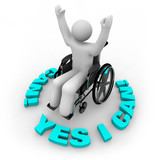 Determined Wheelchair Person - Yes I Can poster