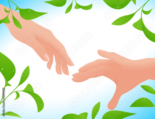 Couple hands on leaf background
