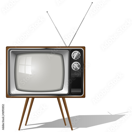 Old-fashioned four legged TV set isolated - 16913852
