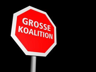 Stoppschild schraeg, Große Koalition