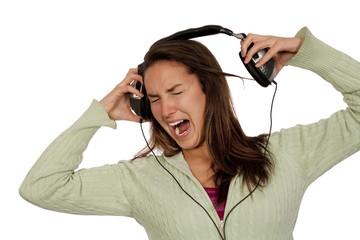 woman listening loud music