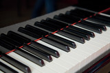 Grand piano keyboard close up