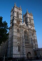 Westminster Abbey against a blue twilight sky