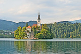 Assumption of Mary Pilgrimage Church on island in Lake Bled, Slo poster