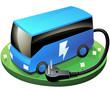 Autocar bleu électrique (détouré)