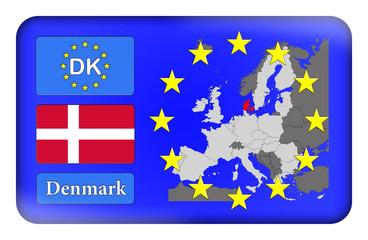 3D-Button Europäische Union - Dänemark