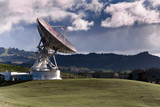 Satellite station on farmland.