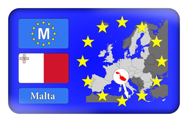 3D-Button Europäische Union - Malta