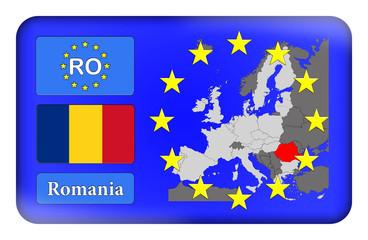 3D-Button Europäische Union - Rumänien