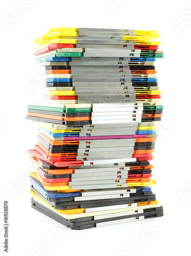 Uneven stack of old computer floppy disks