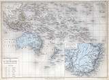 Old map of Oceania, 1883