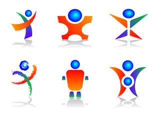 Human Related Colourful and Abstract Logo Designs