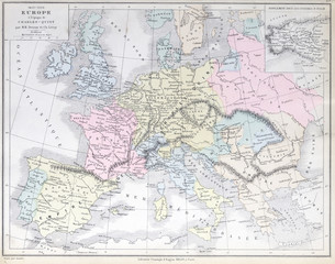 Old map of Europe between 1453 -1558. Published in 1883
