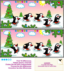 Skating penguins. Spot the differences visual puzzle.