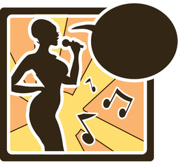 Karaoke woman logo in vector sing song, music silhouette icons,
