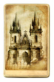 european landmarks vintage cards series -Prague poster