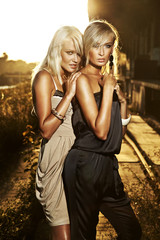 Two elegant blond women