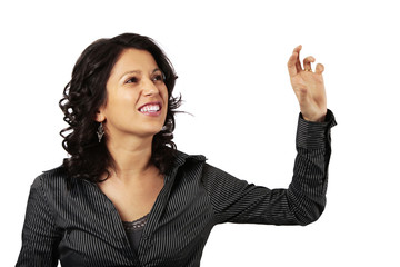Latin Business Woman Reaching Out For Something in Front