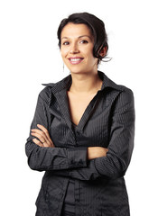 Composed Latin Business Woman Smiling