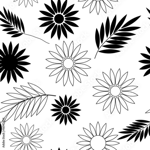 black and white flowers wallpaper. Seamless lack and white