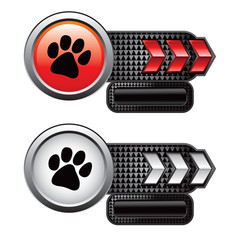 Paw print on red and white arrow advertisements