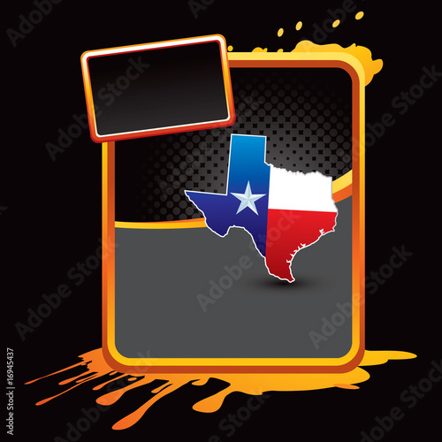 Texas icon on orange splattered advertisement