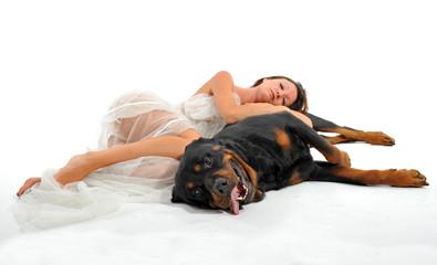 mariée endormie et son chien