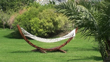 A hammock in a garden, empty