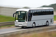 Fast moving tourist bus. Clipping path inside. - 16956628